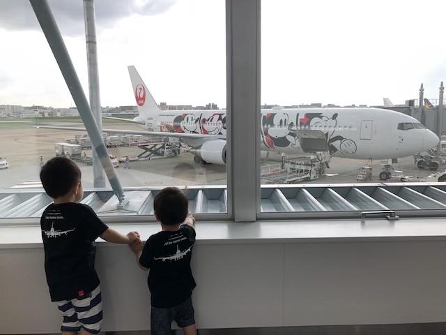 飛行機を見る兄弟